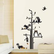 orava pöllö ja puu seinätarra