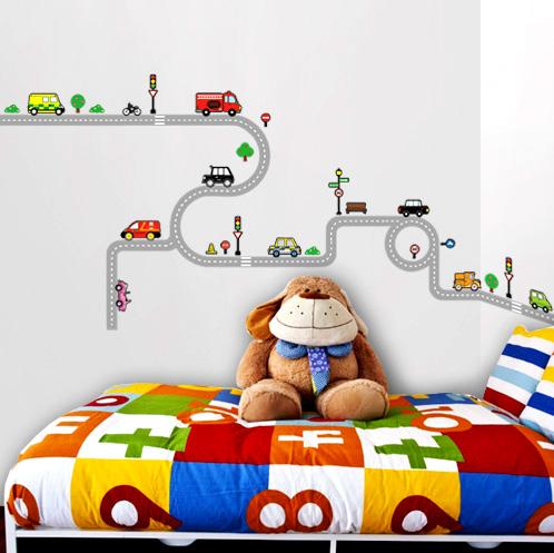 10 ajoneuvoa ja tie seinätarra