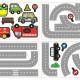10 ajoneuvoa ja tie seinätarra 3
