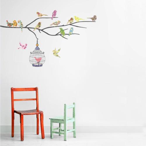 14 lintua oksalla seinätarra