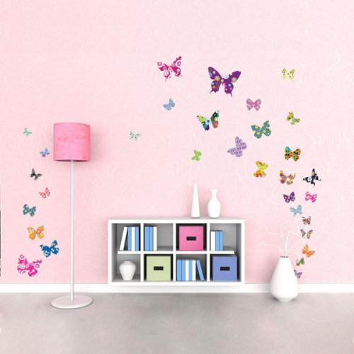 38 värikästä perhosta seinätarra