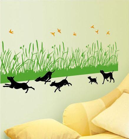 juoksevat koirat seinätarra