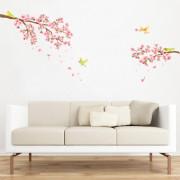 kirsikankukkia ja lintuja seinätarra