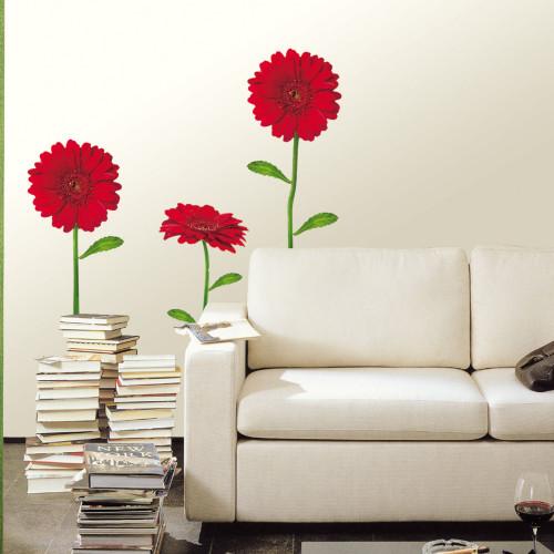 punainen gerbera seinätarra