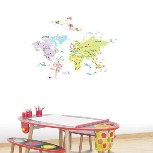 värikäs maailman kartta seinätarra