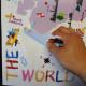 värikäs maailman kartta seinätarra 5