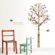 värikäs puu seinätarra