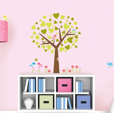 vihreä puu ja linnut seinätarra