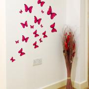 18 pinkkiä perhosta seinätarra