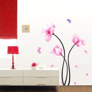 3 vaaleanpunaista kukkaa seinatarra