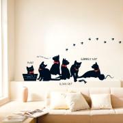 mustat kissanpennut seinätarra