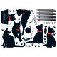mustat kissanpennut seinätarra 3