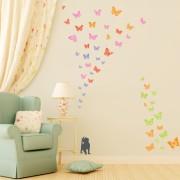 Kissanpennut ja Värikkäät Perhoset Seinätarra